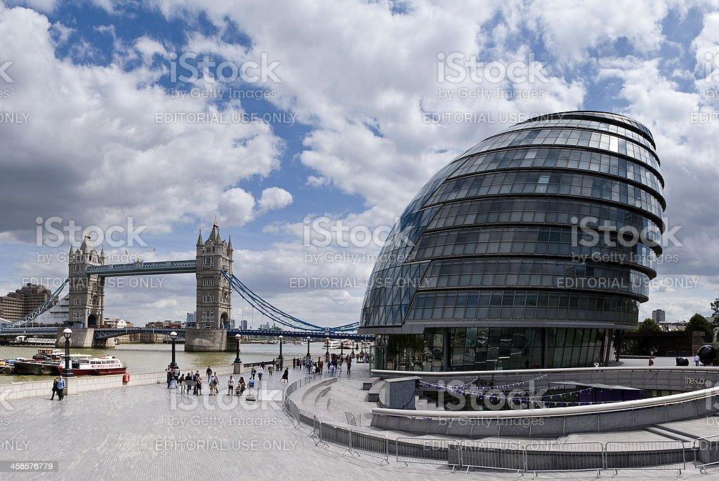 City Hall and Tower Bridge, London royalty-free stock photo