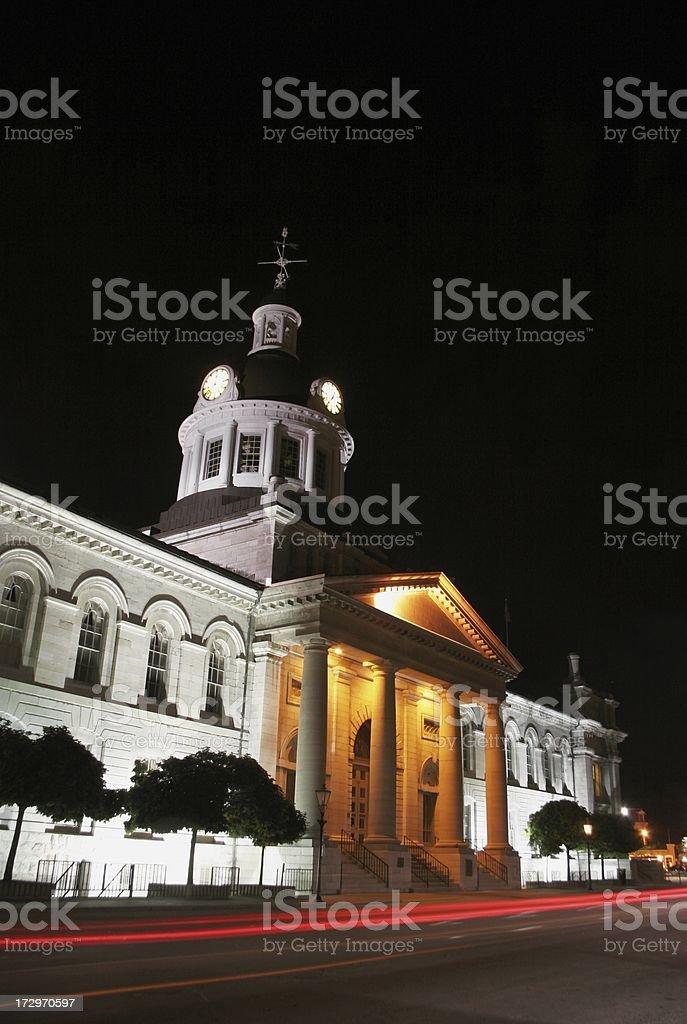 City Hall at Night: Kingston Ontario royalty-free stock photo