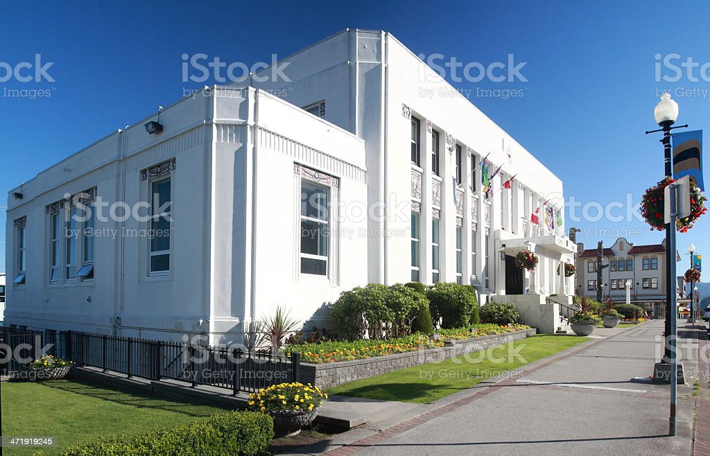 City Hall at Prince Rupert, British Columbia, Canada. stock photo