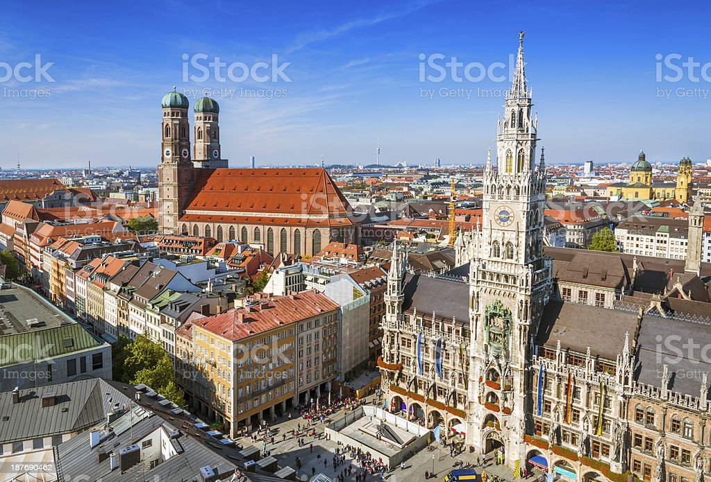 city hall at the Marienplatz in Munich, Germany stock photo