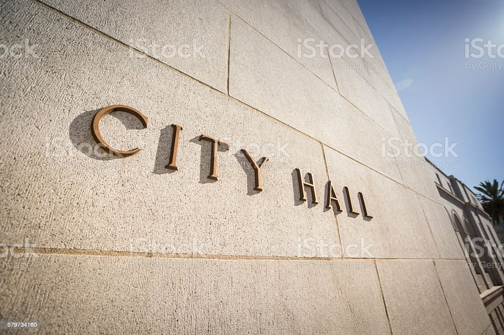 City Hall brass sign stock photo