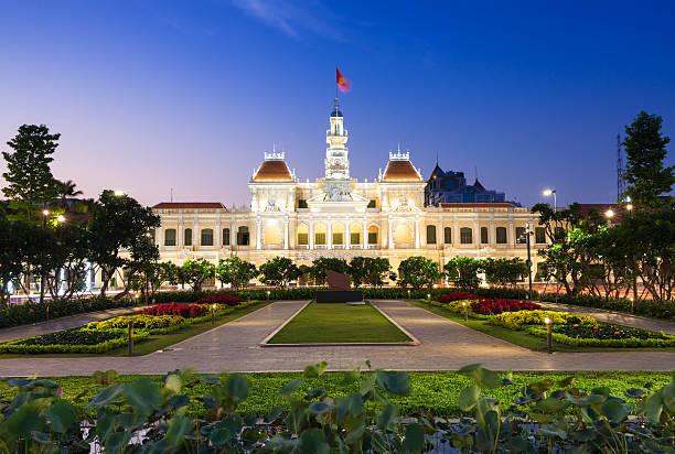 City Hall building at dusk, Ho Chi Minh City stock photo