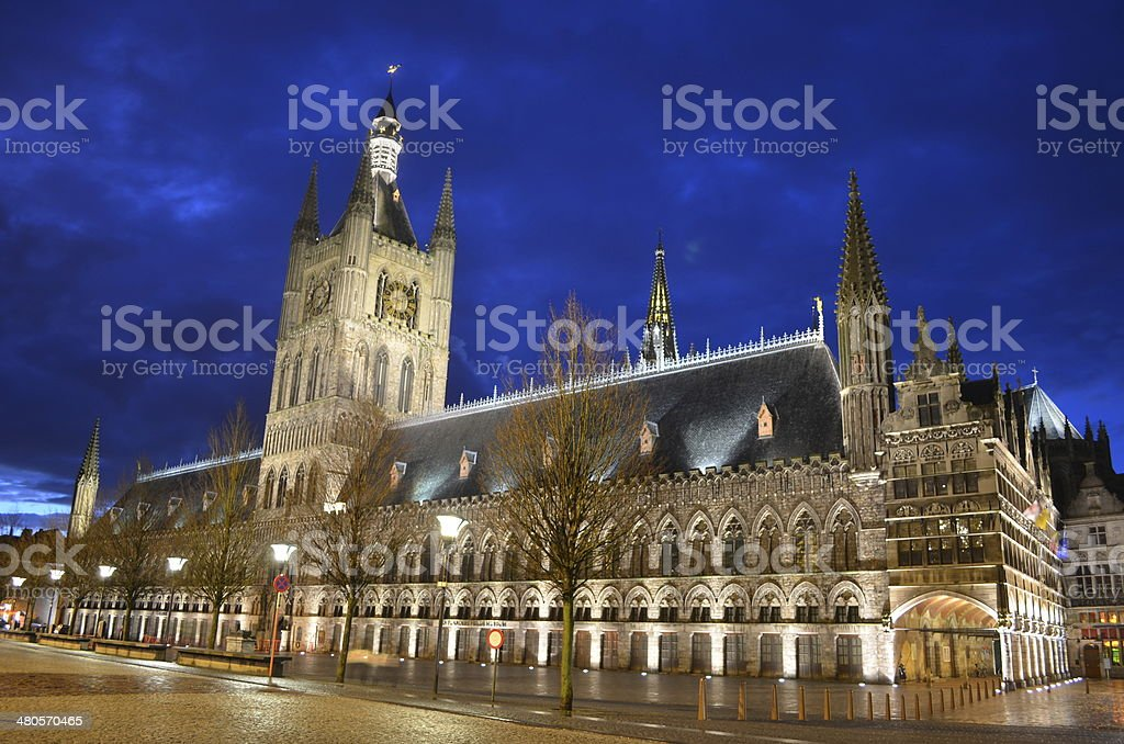 City hall in belgian city Ypres/Ieper stock photo