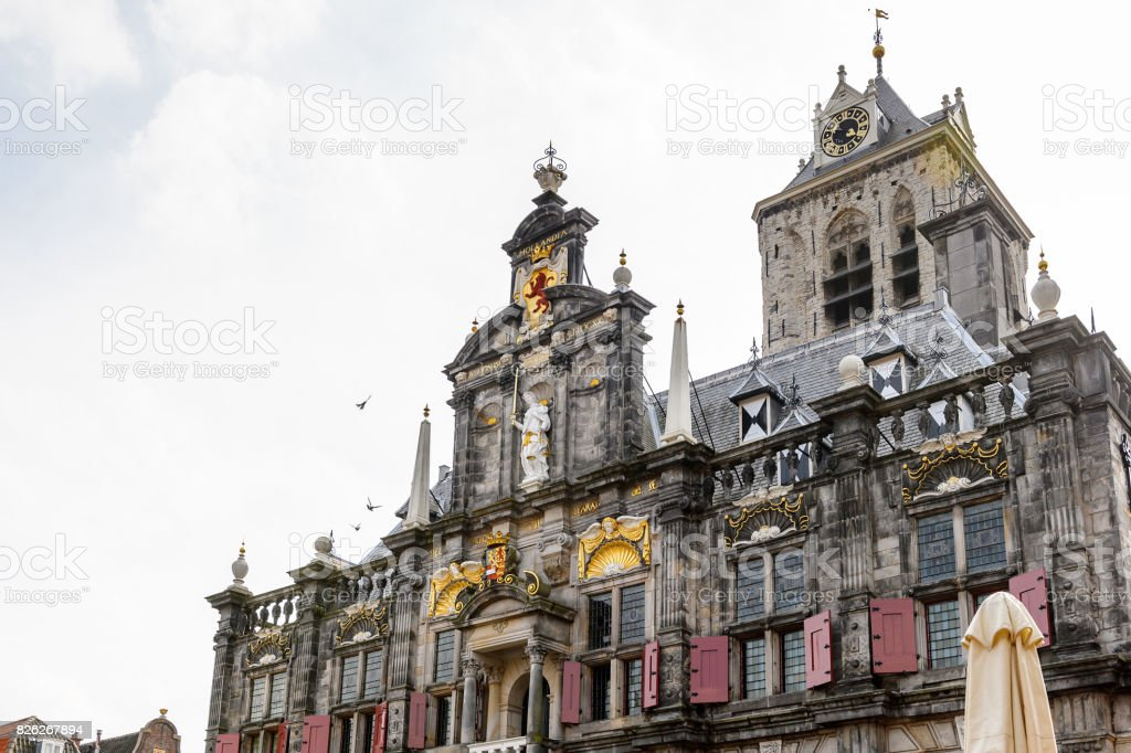 City hall in Delft, Netherlands stock photo