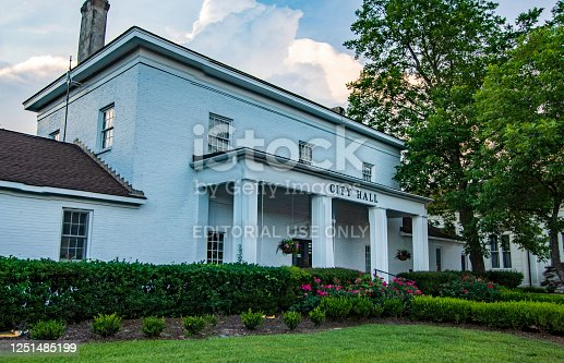 Demopolis, Alabama/USA-June 5, 2020:  Demopolis City Hall located in the historic district in the town square.
