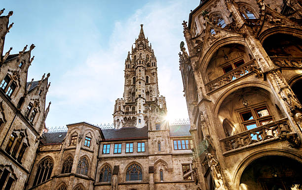 city hall in munich, germany - münchens nya rådhus bildbanksfoton och bilder