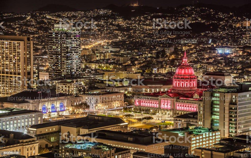City Hall in San Francisco at night stock photo