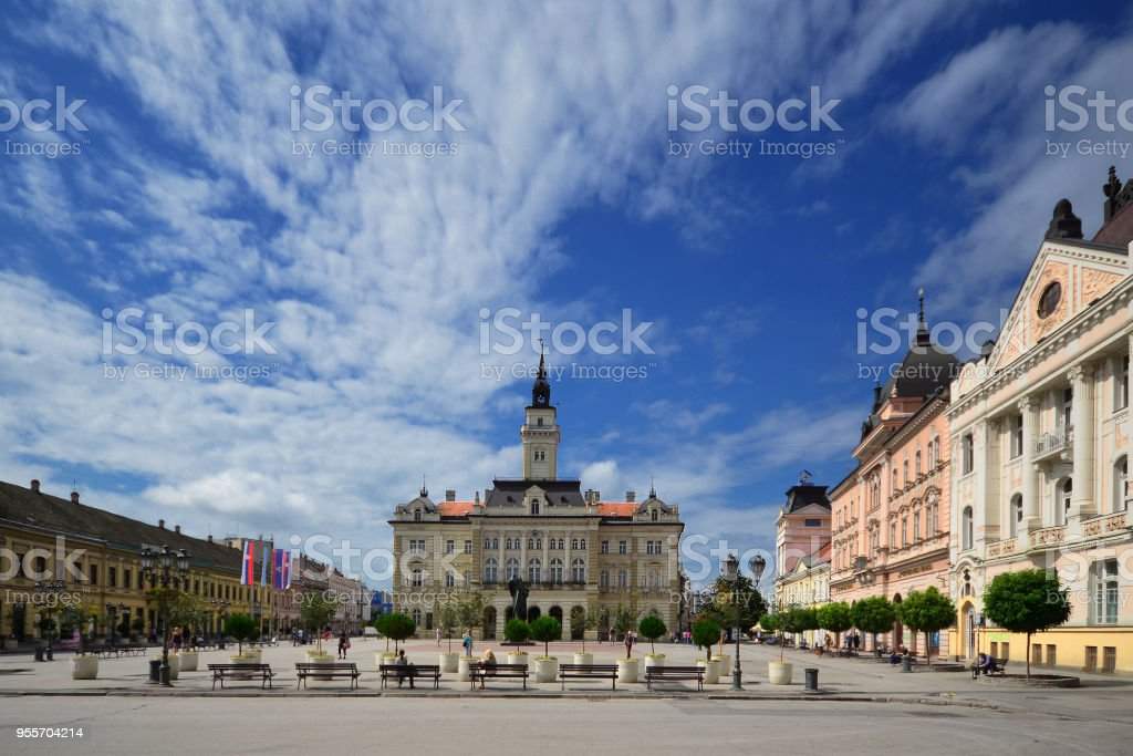 City hall in the center of Novi Sad royalty-free stock photo