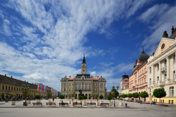 City hall in the center of Novi Sad City hall in the center of Novi Sad place of EXIT music festival and European capital culture serbia stock pictures, royalty-free photos & images