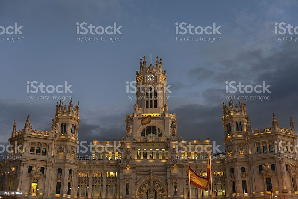 City Hall in the Plaza de Cibeles in Madrid stock photo
