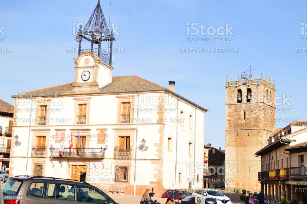 City Hall In Town Square Of Riaza Cradle Of The Red Villages In addition Of Beautiful Medieval Town In Segovia. Architecture Landscapes Travel Rural Environment. stock photo