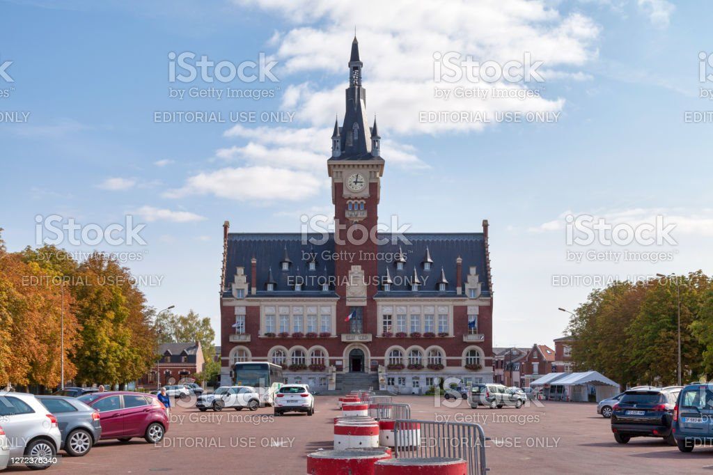 City hall of Albert Albert, France - September 12 2020: The town hall inaugurated in 1932 was created by the architects Alexandre Miniac and Benjamin Maneval. It is surmounted by a belfry like many towns in the North of France. Architecture Stock Photo