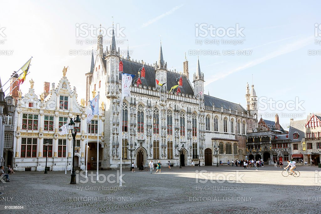 city hall of belgian town bruges on sunny summer morning - Photo