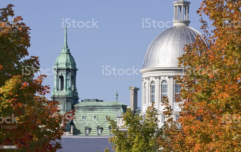 City Hall of Montreal and Bonsecours Market royalty-free stock photo