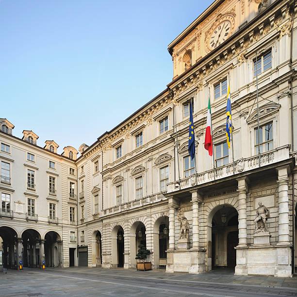 City hall of Turin, Palazzo Civico, Palazzo di Città square stock photo