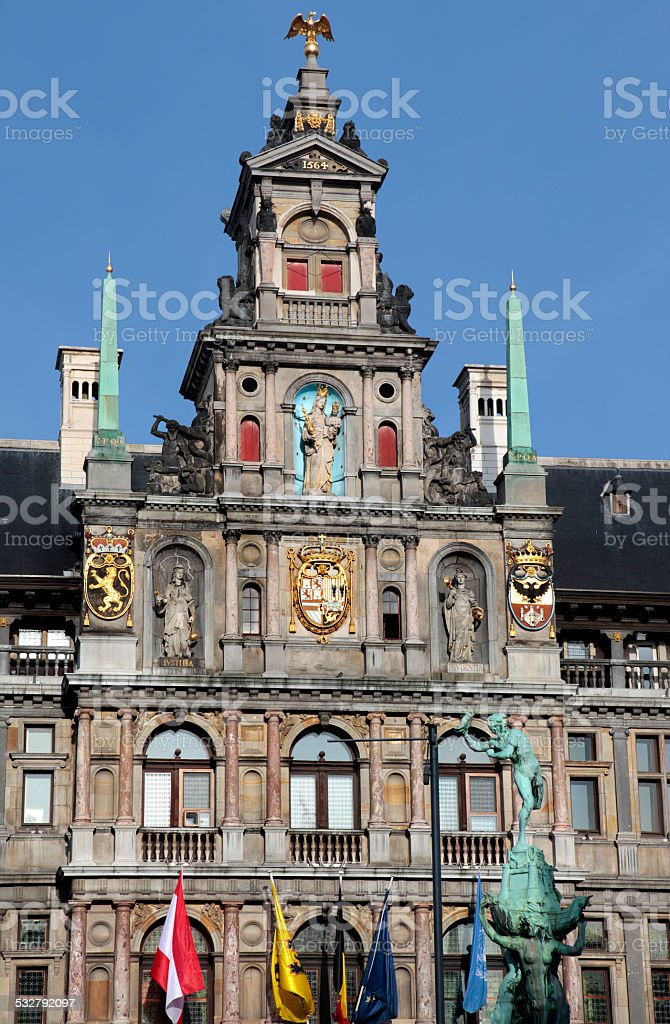 City Hall on Grote Markt, Antwerp, Belgium. stock photo