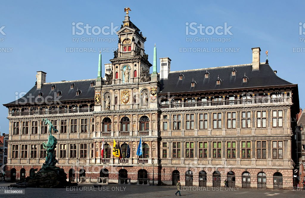 City Hall on Grote Markt, Antwerp, Flanders, Belgium. stock photo
