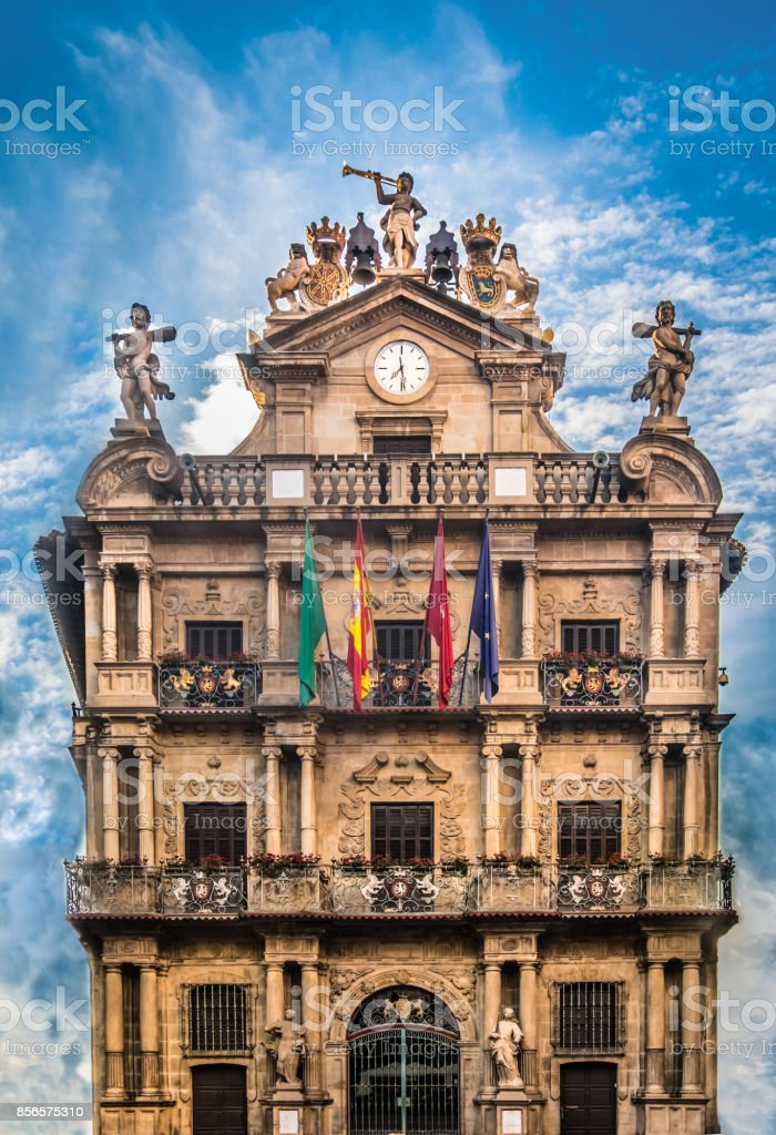 City Hall, Pamplona (Iruña), the historical capitalof Navarre, Spain, stock photo
