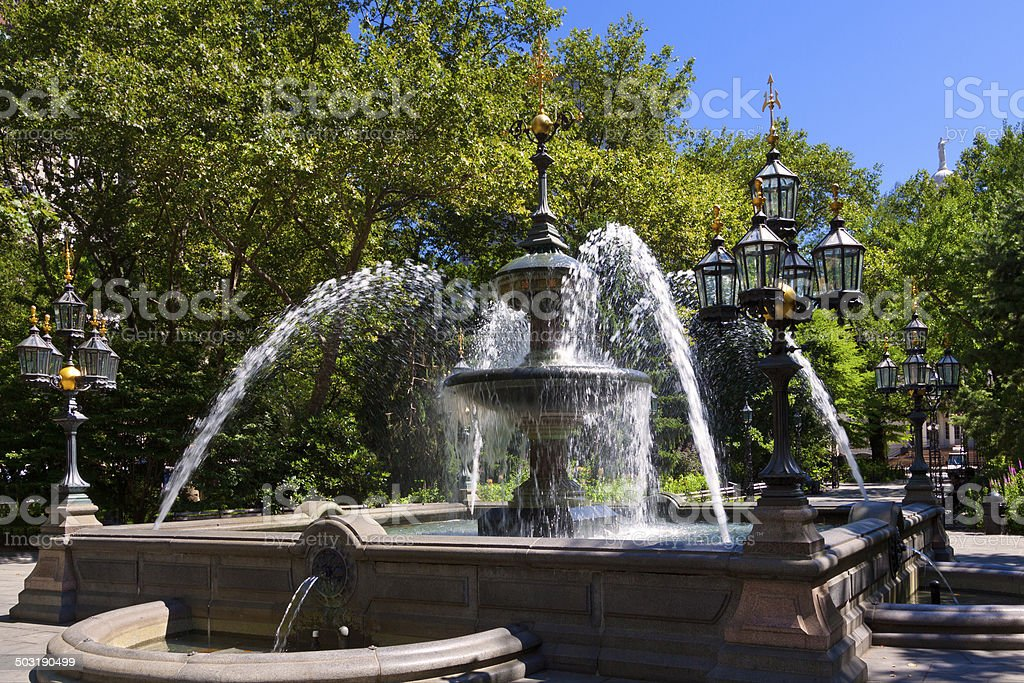 City Hall Park Fountain, New York City. royalty-free stock photo