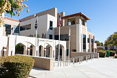 Corona, CA USA - October 19, 2019: City hall and support buildings in center of city with access to services and city council. Facade of new city facility with entrance to offices and council chambers