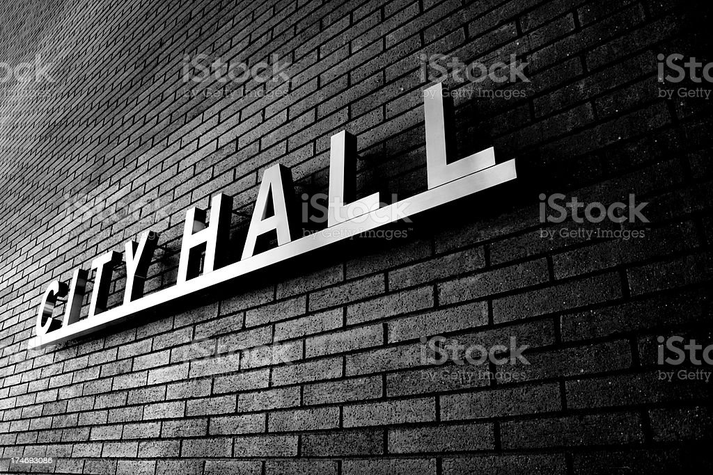 City Hall Sign Gritty royalty-free stock photo