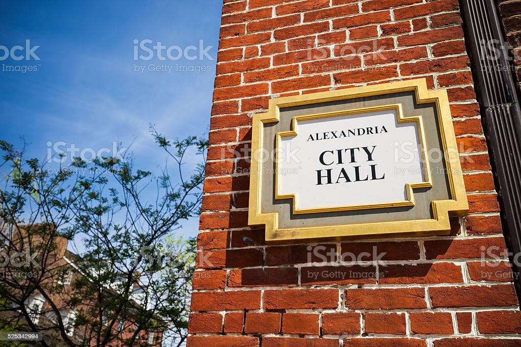 City Hall Sign In Alexandria, Virginia stock photo