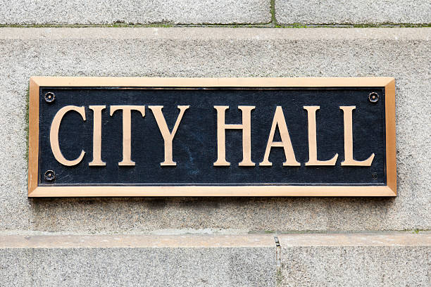 City Hall Sign Municipal Plaque in Chicago stock photo