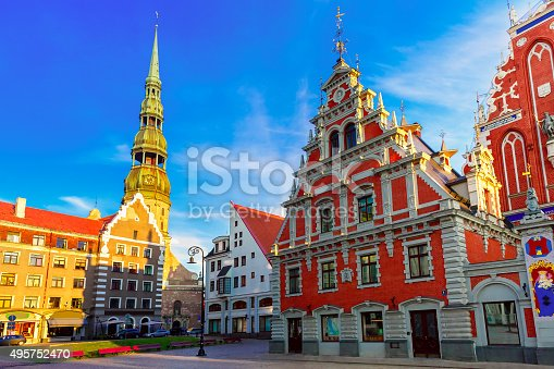 istock City Hall Square in the Old Town of Riga, Latvia 495752470