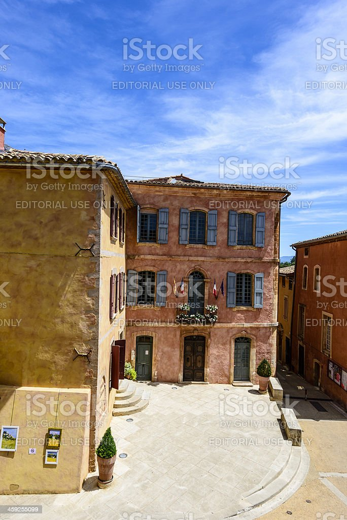 City hall square of Roussillon royalty-free stock photo