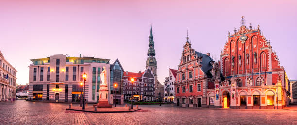 City Hall Square Riga old Town, Latvia stock photo