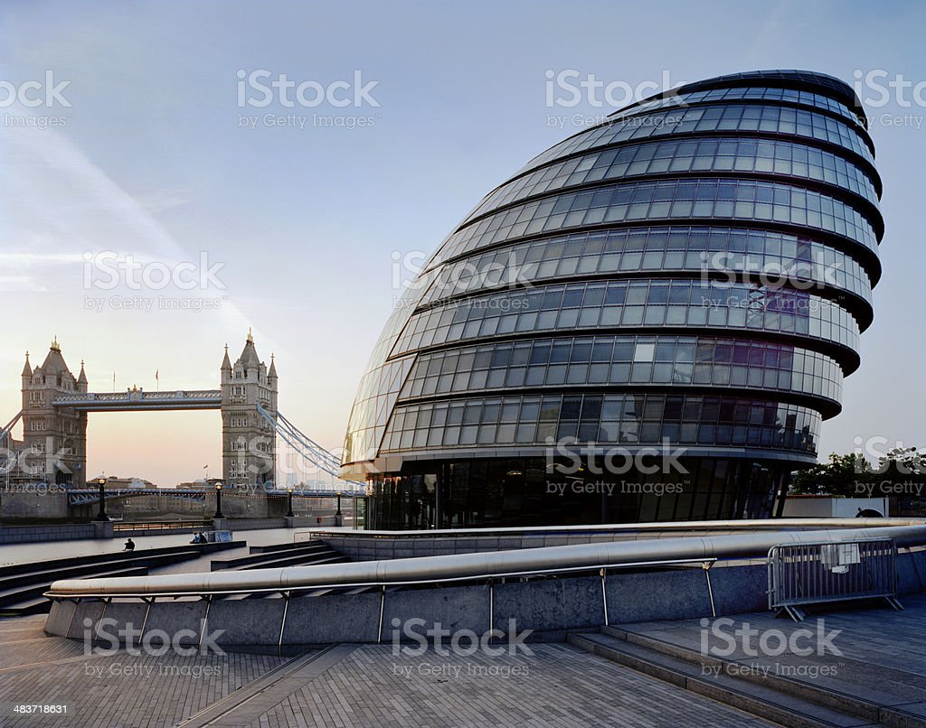 City Hall & Tower Bridge, London, UK. royalty-free stock photo