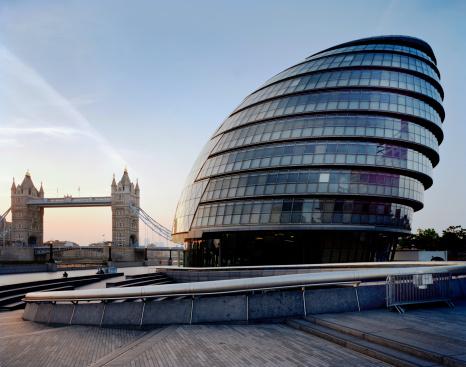 City Hall & Tower Bridge, London, UK.