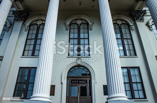 The front steps of city hall, in Wilmington, NC.