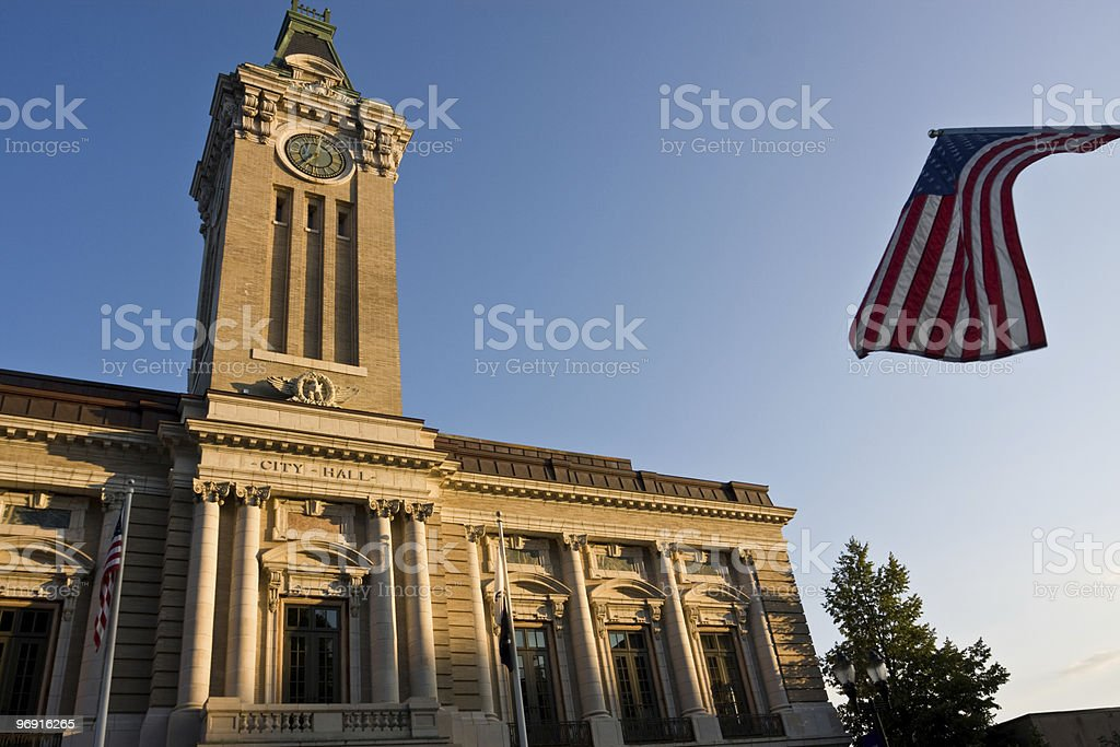 City hall with flag of USA royalty-free stock photo
