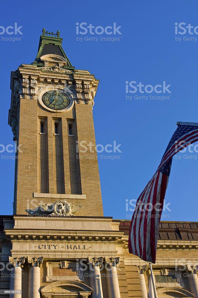 City hall with flag of USA royalty-free stock photo