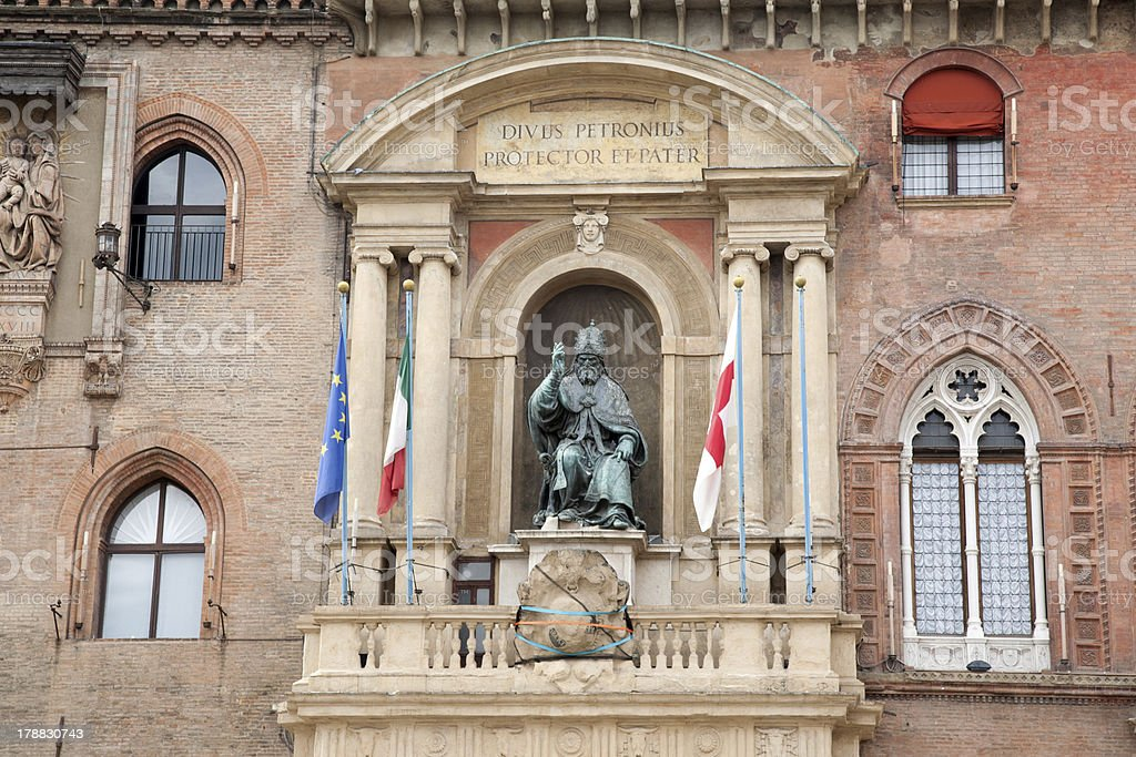City Hall with Pope Gregory XIII Statue, Bologna stock photo