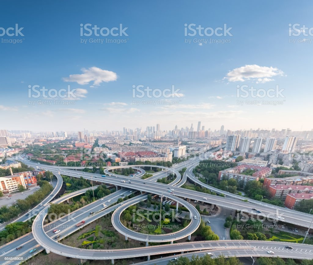 city highway interchange royalty-free stock photo