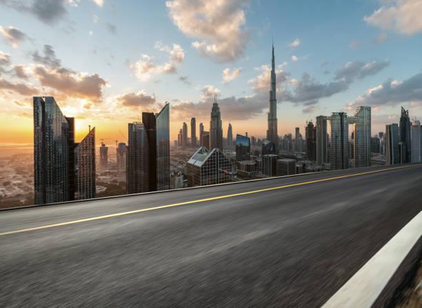 City Highway of Dubai at Sunrise, Road Backgrounds stock photo