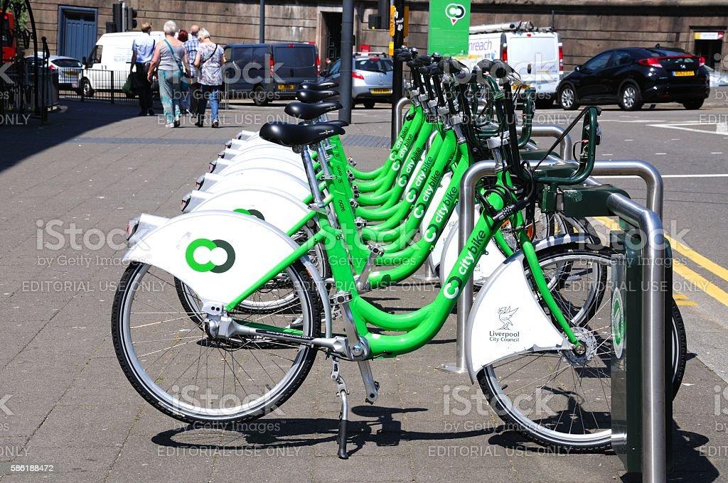City Hire Bikes, Liverpool. stock photo