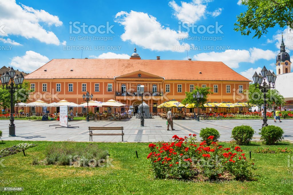 City house and city cafe in Sombor in the center stock photo
