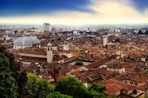 Ciudad si Brescia - vista del castillo (Ciudadela) de Brescia - foto de stock