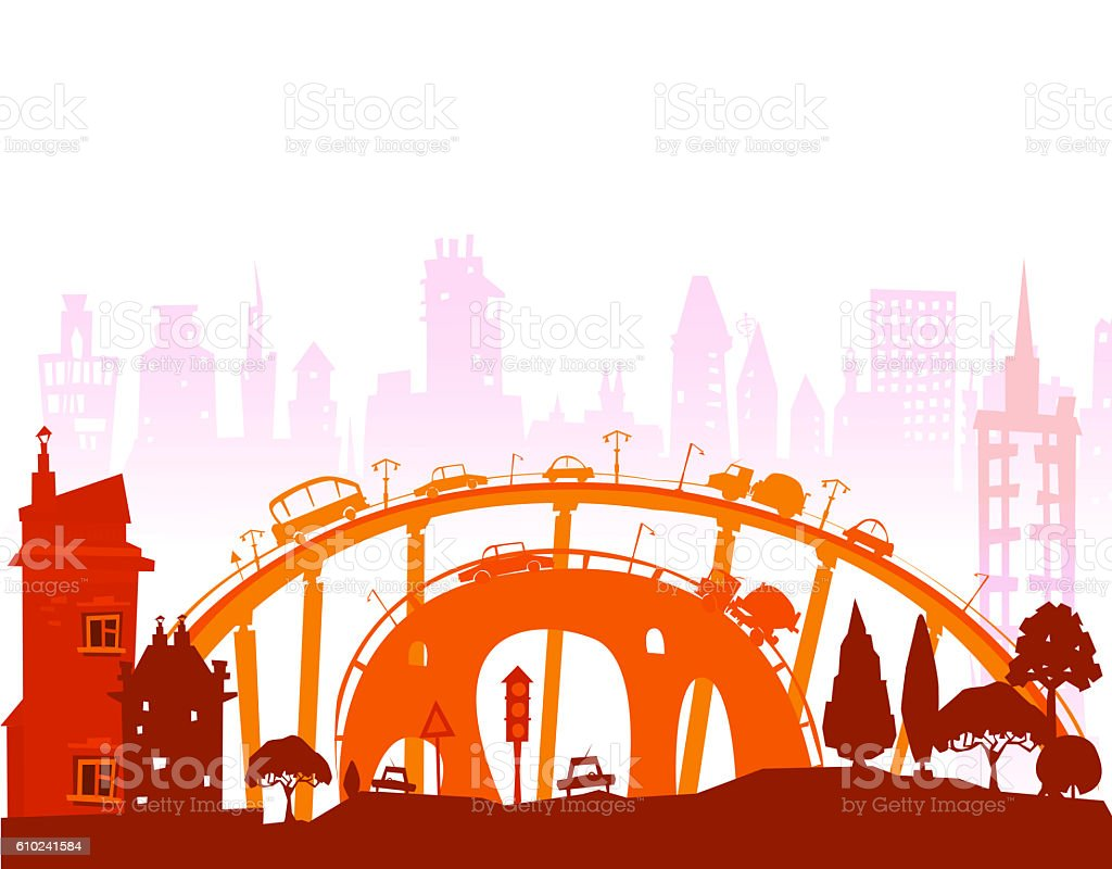 City illustration, roads, bridges and transport junctions stock photo