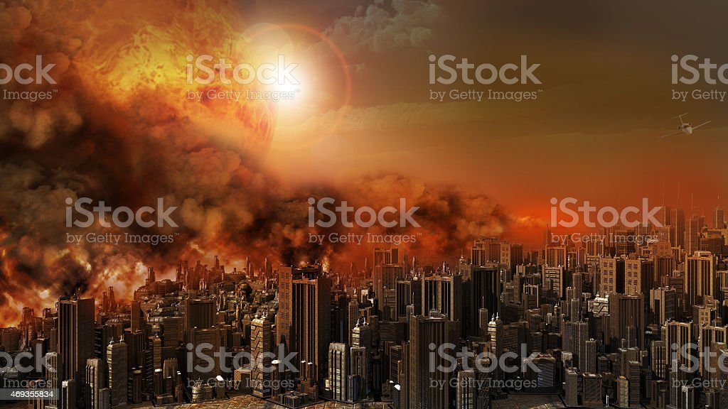 City in a blaze stock photo