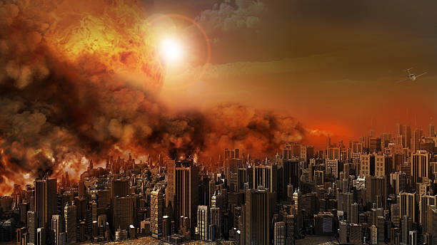city in a blaze - apocalypse stock photos and pictures