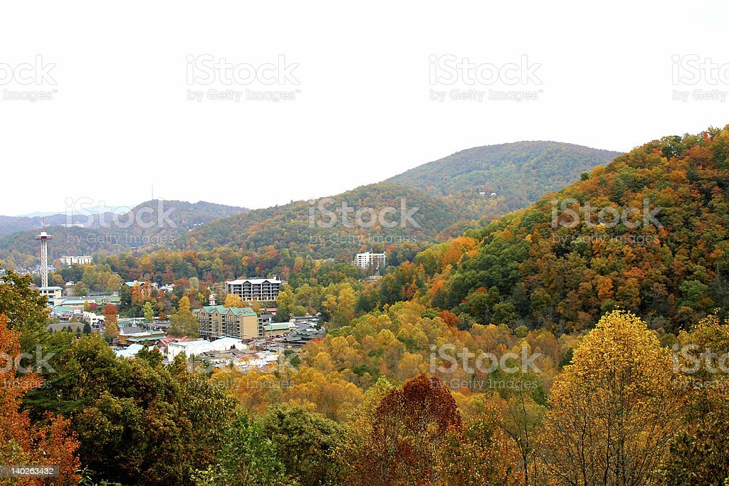 City in colorful forrest stock photo