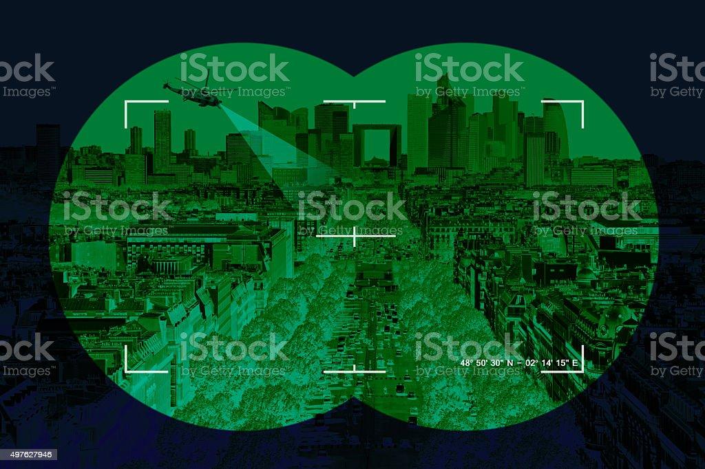City in crosshairs stock photo