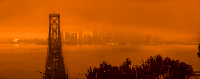 San Francisco, Ca.  09/09/2020 From the wild fires in Northern California the city by the bay has been turned a bright orange