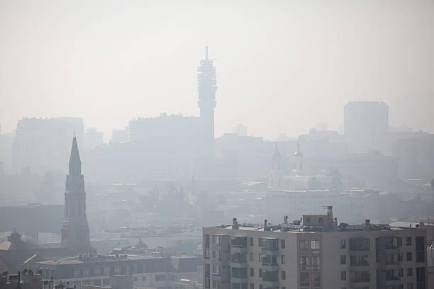 City in Smog stock photo
