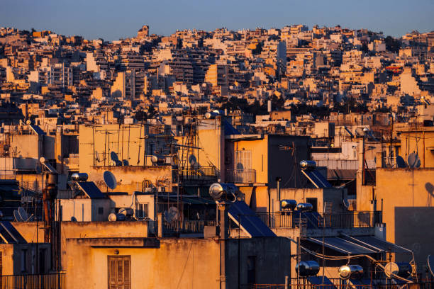 City in sunset light - Athens, Greece stock photo
