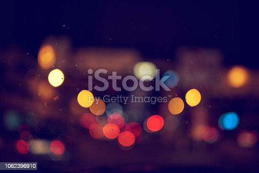 colorful bokeh lights in night time in the city.